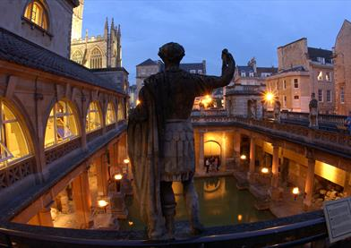 Roman Baths at Moonlight with Statue of Roman